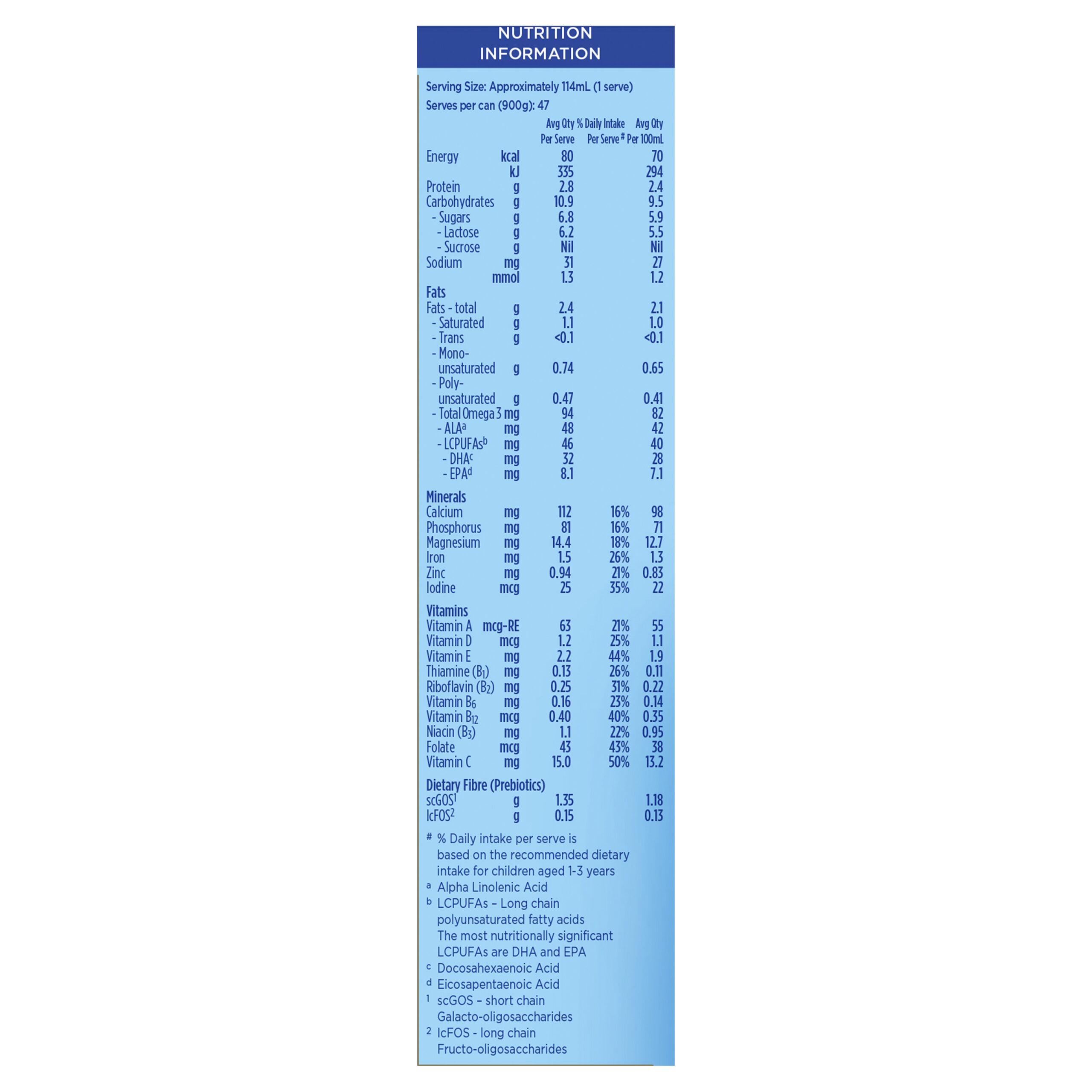 Aptamil Gold+ 3 Toddler Milk Drink From 1 Year 900g, Nutrition Information