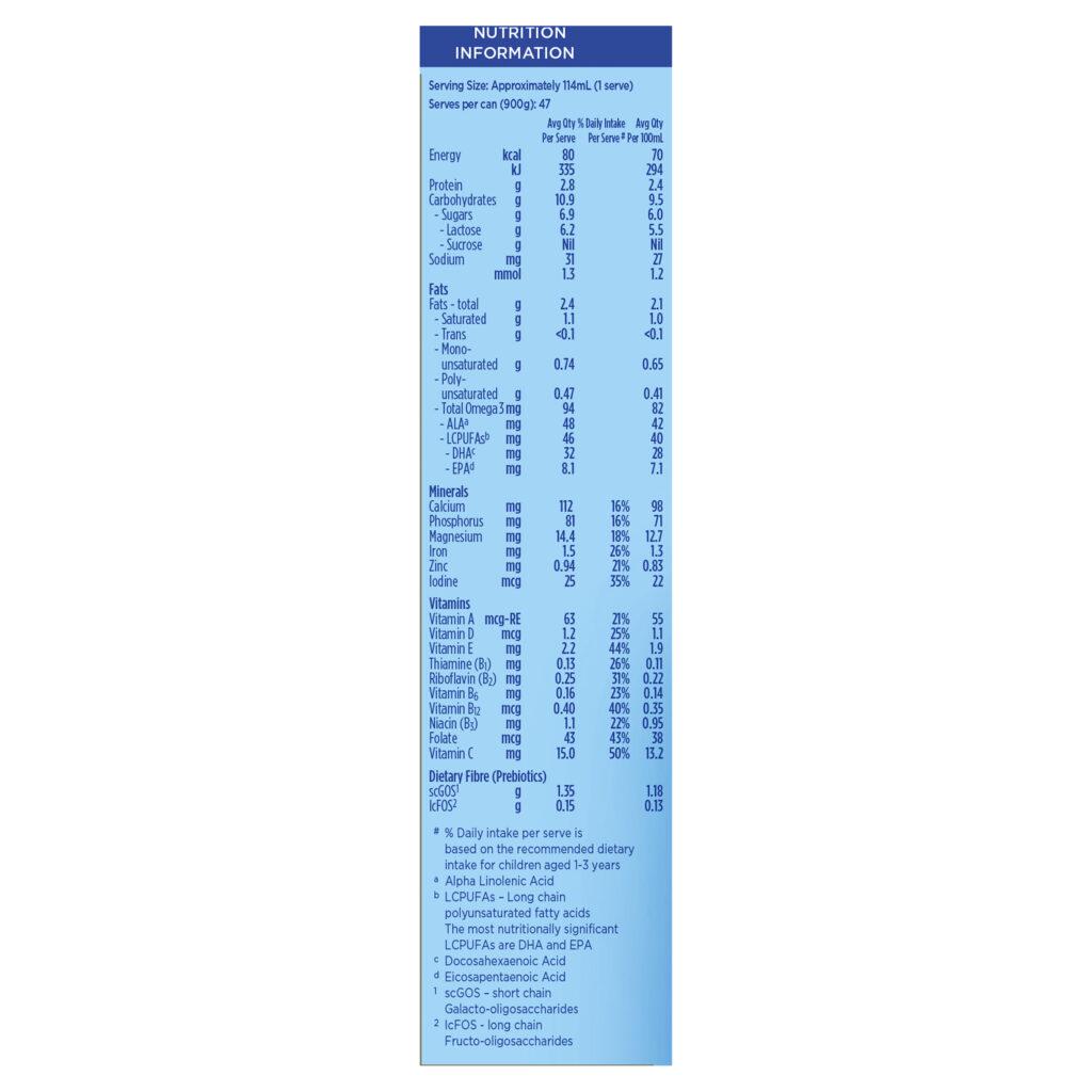 Aptamil Gold+ 4 Junior Milk Drink From 2 Years 900g, Nutrition Information
