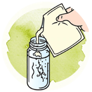 Icon showing how to pour sachet in the bottle