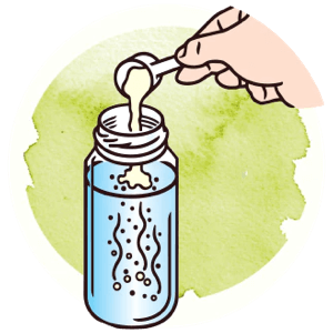 Icon showing how to scoop the powder in the bottle