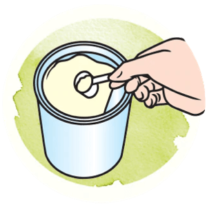 Icon showing how to scoop the powder