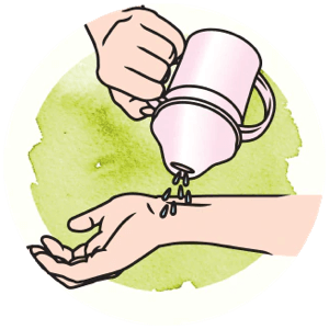 Icon showing how to test temperature of the cup