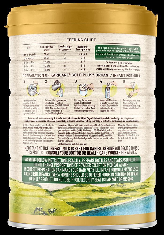 Karicare Gold Plus Organic Stage 1 New Zealand Milk Feeding Guide